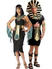 $44.99 men Cleopatra Black and King Tut Couples Costumes-Egyptian, Roman, Greek-Couples Costumes-Halloween City