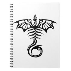 Tribal style tattoo dragon's skeleton spiral notebook | Zazzle