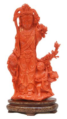 HEAVY CHINESE CARVED RED CORAL MAIDEN GROUP FIGURE