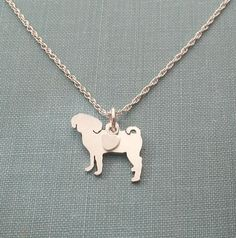 Puggle Dog Necklace, Sterling Silver Personalize Pendant, Breed Silhouette Charm Rescue Shelter by DiBAdog on Etsy