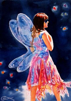 Fairy Lights - F is for Fairy, painting by artist Crystal Cook