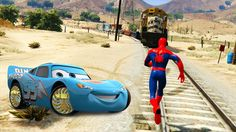 SPIDERMAN: Can't Stop the Train with Disney Cars Lightning McQueen Dinoc...