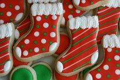 Christmas Stocking Cookies, Christmas Sugar Cookies, Christmas Cupcakes, Holiday Cookies, Fancy Cookies, Cupcake Cookies, Noel Christmas, Christmas Baking, Sugar Cookie Frosting