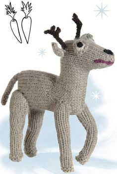 Reindeer toy free knitting pattern (for when I am not such a knitting newbie!) from http://www.craftfoxes.com/how_tos/knitted-reindeer-toy-doll--2