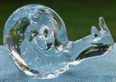 Controlled Bubble Art Glass Figural Snail Paperweight