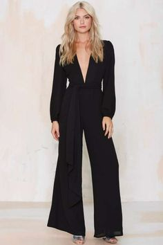 Glamorous Midnight Fever Plunging Jumpsuit