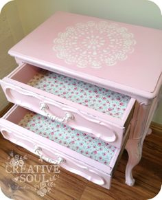 upcycled bedside drawers (was a silverware chest) cute floral decoupaged drawers and a doily motif stencilled on top. Painted in annie sloan chalk paint