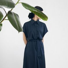 Aurora women collection It's relaxed. It's elegant. Looks like a dress but it's actually a jumpsuit.  Coming soon on theaurora.studio.  #jumpsuit #minimalcollection #midnightblue #designedinportugal  #madeinportugal