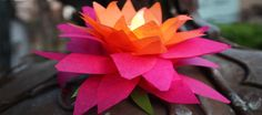 lotus lantern from paper cup, tissue paper and flameless tea lights
