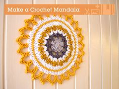 A mandala is typically a circle with inspiring colors and patterns. Mandala is the Sanskrit word for 'circle', and has spiritual significance in Hinduism and Buddhism. Crochet mandalas can be used as coasters, hot pads, wall decorations or simply as colour therapy.