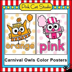 Carnival Owls Theme Colors Posters: These fun Carnival Owls theme color posters will look fantastic on your classroom wall or bulletin board! By Pink Cat Studio Circus Theme Classroom, Classroom Wall Decor, Owl Classroom, Classroom Walls, Kindergarten Classroom, Classroom Activities, Classroom Ideas, Poster Colour, Color Posters