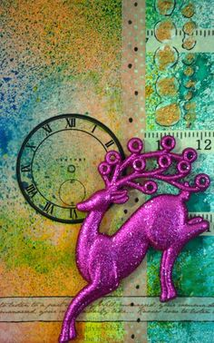Mixed media Canvas - I love the 3-D reindeer, the whole page is beautiful.