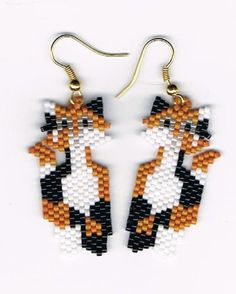Hand Beaded Calico Cat earrings