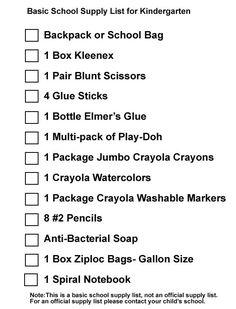 6c7609f55d Kindergarten Back To School Supplies List