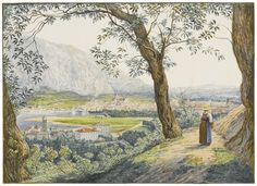 Jacob Alt A VIEW OF THE LAKE AND TOWN OF COMO Watercolor, within brown ink framing lines; (2000×1456)