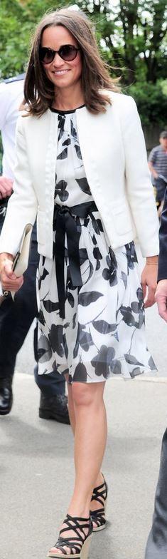 pippa middleton  Who made Pippa Middletons white floral dress, tweed jacket, flap handbag, and black wedge sandals?