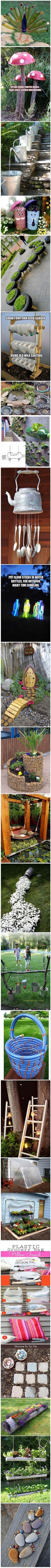 Great ideas for yard - peacock made with wine bottles to how to make a pond using an old tire