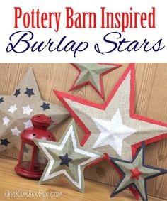 DIY Pottery Barn Burlap Stars.  Easy and inexpensive to make out of cardboard!   Great Step-by-step tutorial   via http://www.TheKimSixFix.com