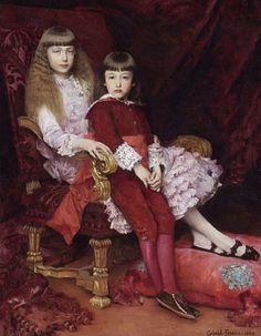 La Princess Marguerite d'Orléans et son frère le Prince Jean d'Orléans(duc de guise) par Gabriel Ferrier