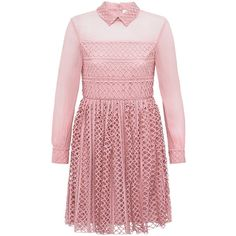 Bora Aksu - Dusky Pink Lace & Georgette Shirt Dress ($1,045) ❤ liked on Polyvore featuring dresses, bora aksu, lacy dress, lace dress, shirt dress and red lace dress