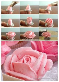 Trendy Ideas For Cupcakes Decoration Flores Buttercream Roses Icing Tips, Frosting Tips, Frosting Recipes, Frost Cupcakes, Mini Cupcakes, Decoration Patisserie, Dessert Decoration, Cake Decorating Tutorials, Cookie Decorating