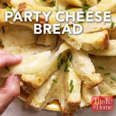 55 minutes · Vegetarian · Serves 16 · Party Cheese Bread Recipe Recipes byTaste of Home Snacks Für Party, Appetizers For Party, Appetizer Recipes, Appetizer Ideas, Christmas Appetizers, Cheese Appetizers, Party Party, Party Food Recipes, Kid Friendly Appetizers