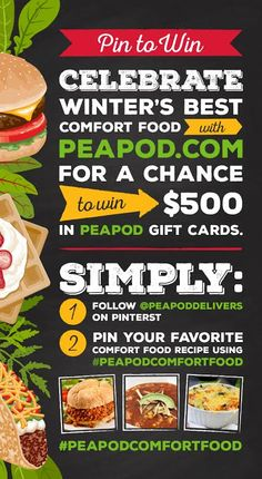 What's your favorite #comfortfood?! From now until March 9th, share what meal you find comforting using hashtag #PeapodComfortFood for a chance to win up to $500 in Peapod Gift Cards! Just click through this image to be taken to the Pinterest Board for more information and ready-to-go pins, including some of mine!  Good Luck!