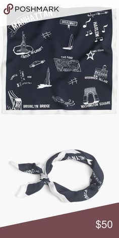 """J. Crew Destination Silk Scarf The most iconic New York City attractions are showcased on this beautiful silk scarf. Always in style navy blue and white 19"""" square scarf is made from Italian silk. J. Crew Accessories Scarves & Wraps"""