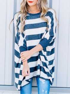 e28d5657e85514 Shop Loose Fit Stripe Pullover Batwing Sleeve Tee at victoriaswing