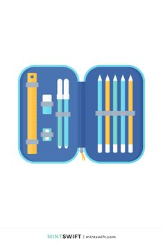 366 Days of Illustration Challenge - Day 247 - MintSwift | One year of vector illustrations challenge. Flat design vector illustration of an open pencil case with ruler, eraser, sharpener, markers & colouring pencils. View more at mintswift.com #mintswift by Adrianna Leszczynska #illustration #illustrationchallenge #flatillustration #vectorart #illustrator #flatdesign #vectorillustration #digitalillustration #mintswiftportfolio #mintswiftillustrations #366daysofillustrationchallenge Name Day Today, Colouring Pencils, Web Design Packages, Crayon Set, Flat Design Illustration, Business Checks, Graphic Design Tutorials, Vector Illustrations, Sewing A Button