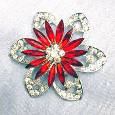 Red Flower Petals and AB Crystal Rhinestone shaped Leaves Brooches Pin Clips $7.95 Free Shipping