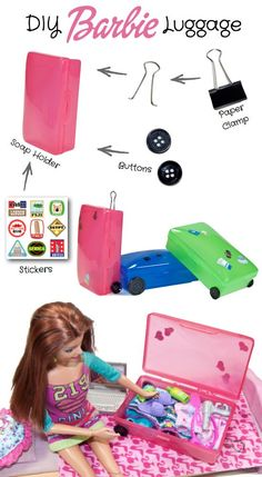 DIY Barbie Luggage -- made with a ... soap holder? Yep, and other common items. Pretty cute! See how at Kids Kubby.