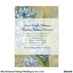 Blue Botanical Vintage Wedding Invitation This lovely wedding invitation features a vintage blue floral botanical print. Vintage Wedding Invitations, Bridal Shower Invitations, Churches Of Christ, Botanical Prints, Invitation Design, Engagement, Baby Showers, Floral, Cards