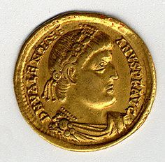 Gold Solidus of Valentinian I (364–75) Date: 364–375 Geography: Made in, Nicomedia (now Izmit, Turkey) Culture: Byzantine Medium: Gold @ http://www.metmuseum.org/Collections/search-the-collections/170002544?rpp=20