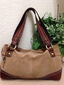d022cad2f0c9 Details about Fossil Brown Tan Suede Leather Trim Shoulder Handbag Satchel  Bag Key Fob 75082