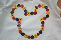 "Mickey Mouse Button T-shirt - I will be doing this for my youngest - shes obsessed with ""MOUSE"" lol x"