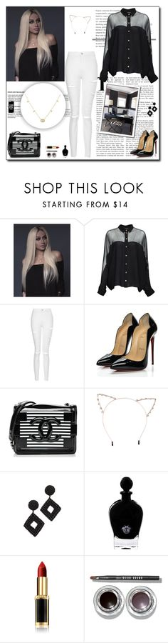 """Black Office"" by justonegirl-423 ❤ liked on Polyvore featuring Gucci, Topshop, Christian Louboutin, Chanel, Cara, Kenneth Jay Lane, EB Florals, L'Oréal Paris, Bobbi Brown Cosmetics and Lillian August"
