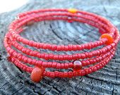 red memory wire beaded wrap bracelet - fall colors