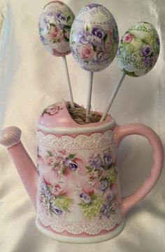 Easter Eggs & Ceramic Vase Hand Painted Cottage Chic Roses Shabby Lace Spring HP