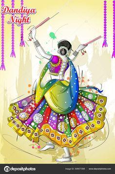 Vector design of Indian woman playing Garba in Dandiya Night Navratri Dussehra festival of India Dance Paintings, Indian Art Paintings, Modern Art Paintings, Abstract Paintings, Beautiful Paintings, Oil Paintings, Doodle Art Drawing, Cool Art Drawings, Art Sketches