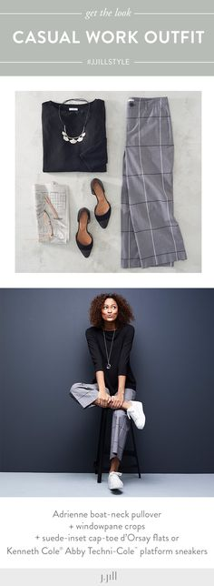 Create casual work outfits that will take you from day to night (featuring J.Jill's Windowpane Crops).