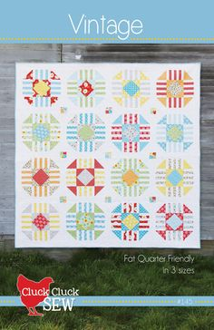 by Cluck Cluck Sew A fat-quarter quilt in 3 sizes. Recommended for advanced beginners to intermediate quilters, and for use with non-directional fabrics. See the photo for sizes and material requi Vintage Quilts Patterns, Quilt Block Patterns, Quilt Blocks, Antique Quilts, Pdf Patterns, Quilting Projects, Quilting Designs, Quilting Ideas, Sewing Projects