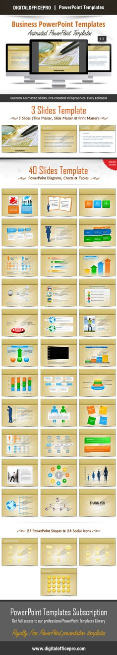 Impress and Engage your audience with Business PowerPoint Template and Business PowerPoint Backgrounds from DigitalOfficePro. Each template comes with a set of PowerPoint Diagrams, Charts & Shapes and are available for instant download.