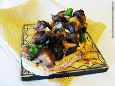 Bruschettas de cogumelos shiitake