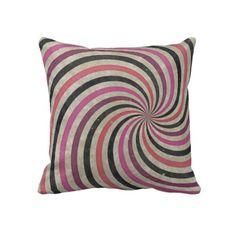 Groovy Retro Spiral Sunbeam Ray Swirl Pillow