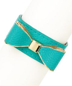 Love this Gold & Turquoise Bow Leather Bracelet by Olivia Welles Jewelry on #zulily! #zulilyfinds
