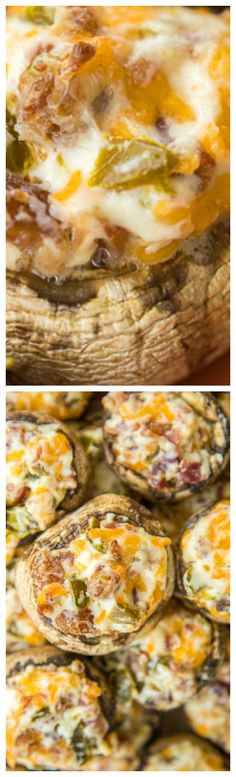Jalapeño Popper Mushrooms ~ Seriously delicious... Mushrooms stuffed with cream cheese, garlic, cheddar cheese, bacon and jalapeños.