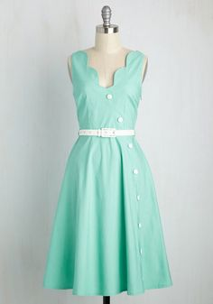 What came first - the spring in your saunter, the chipper song in your head, or this aqua dress? Upbeat attitudes come standard while wearing the scalloped neckline and skirt, thoughtfully darted bodice, and playful white buttons of this vintage-inspired midi, so our guess is the latter!