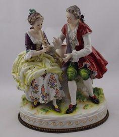 Antique Volkstedt Couple Large Porcelain Figure #Victorian #Volkstedt