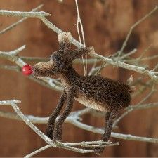 Bristle Red Nose Reindeer Decoration